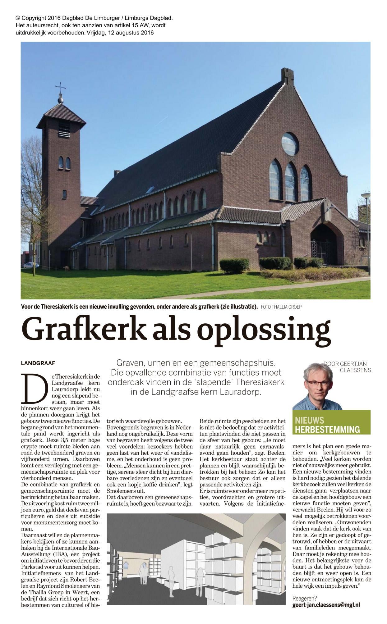 Krantartikel grafkerk als oplossing - Herbestemming Theresiakerk, Landgraaf - BEELEN CS architecten Eindhoven / Thalliagroep Weert