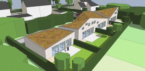 3D impressie achterzijde - Ontwerp seniorenwoningen, Veghel - BEELEN CS architecten Eindhoven / Thalliagroep Weert