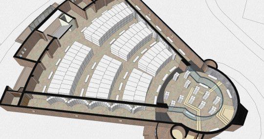 3D impressie begane grond - Fatimakerk Weert - BEELEN CS architecten Eindhoven / Thalliagroep Weert