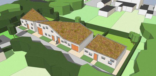 3D impressie bovenzijde - Ontwerp seniorenwoningen, Veghel - BEELEN CS architecten Eindhoven / Thalliagroep Weert