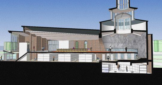 3D impressie doorsnede - Fatimakerk Weert | BEELEN CS architecten / Thallia groep Weert - Eindhoven