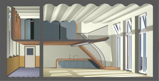 3D impressie doorsnede - Herbestemming oude katholieke school naar Appartementen, Amsterdam - BEELEN CS architecten Eindhoven / Thalliagroep Weert