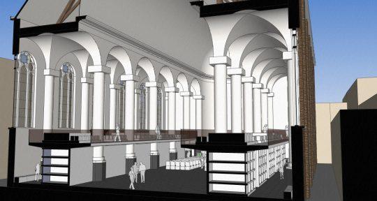 3D impressie dwarsdoorsnede gravengalerij - plan voor mausoleum in de Kerk aan de Lange Haven, Schiedam- BEELEN CS architecten Eindhoven / Thalliagroep Weert