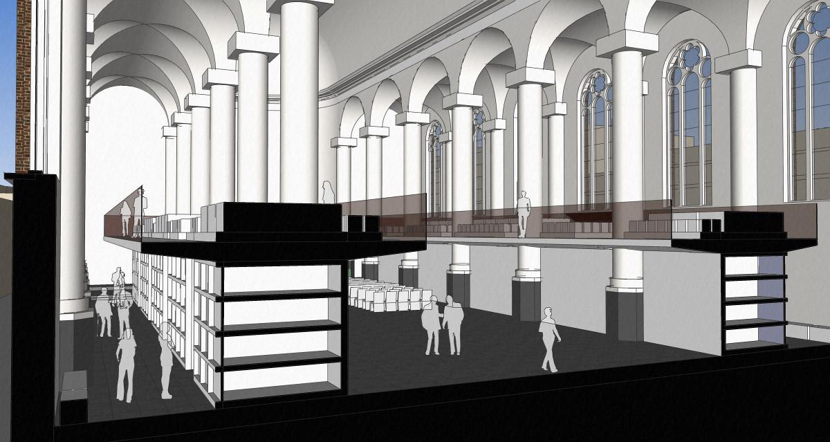3D impressie dwarsdoorsnede over de graven - plan voor mausoleum in de Kerk aan de Lange Haven, Schiedam- BEELEN CS architecten Eindhoven / Thalliagroep Weert