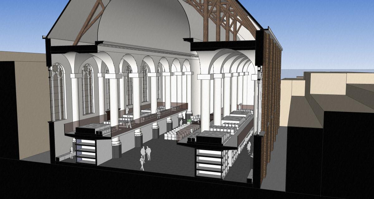 3D impressie dwarsdoorsnede - plan voor mausoleum in de Kerk aan de Lange Haven, Schiedam- BEELEN CS architecten Eindhoven / Thalliagroep Weert