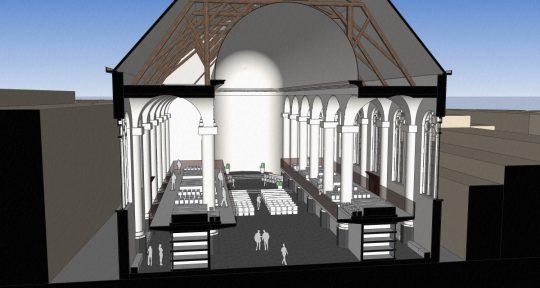 3D impressie dwarsdoorsnede totaal - plan voor mausoleum in de Kerk aan de Lange Haven, Schiedam- BEELEN CS architecten Eindhoven / Thalliagroep Weert
