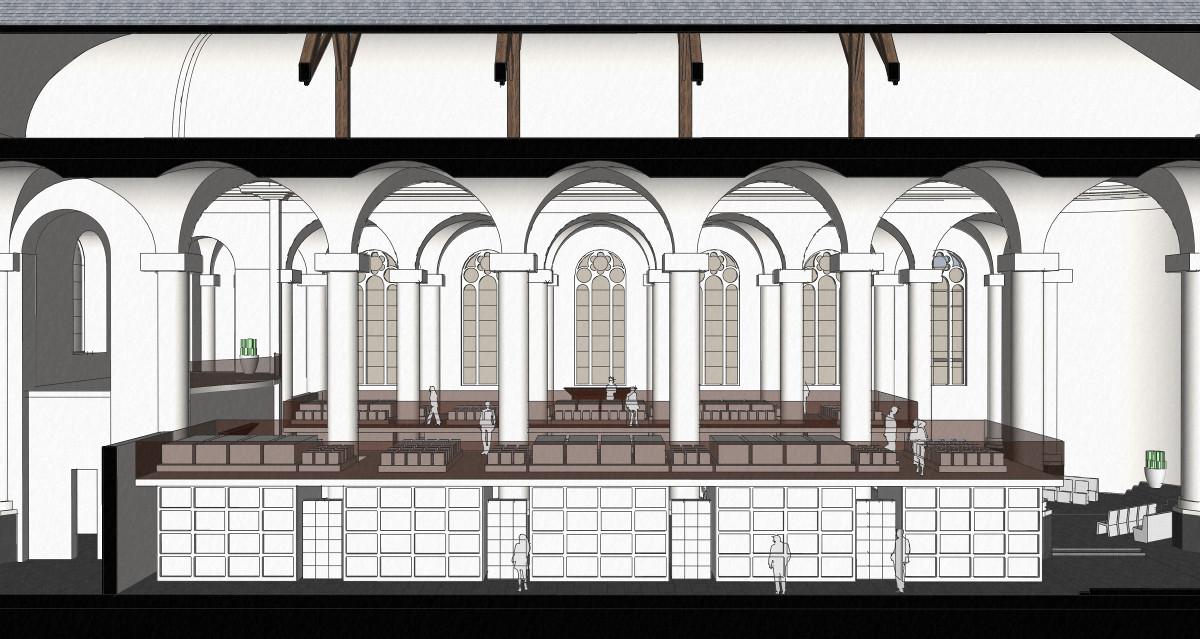 3D impressie langsdoorsnede gravengalerij - plan voor mausoleum in de Kerk aan de Lange Haven, Schiedam- BEELEN CS architecten Eindhoven / Thalliagroep Weert
