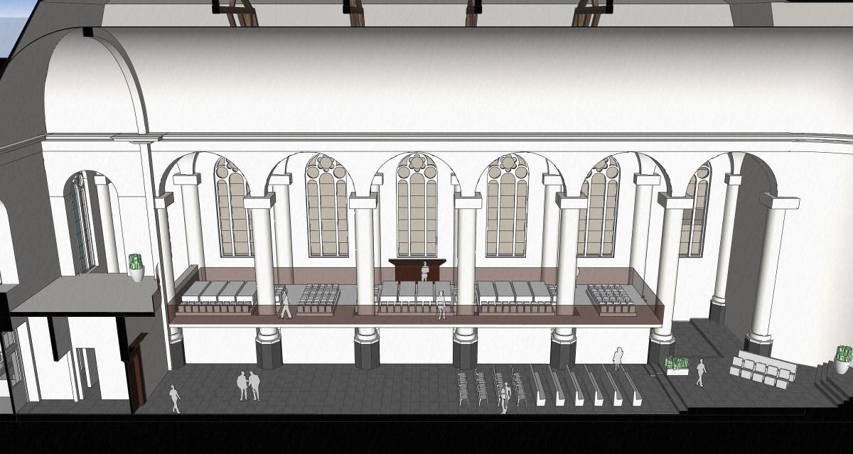 3D impressie langsdoorsnede zaal - plan voor mausoleum in de Kerk aan de Lange Haven, Schiedam- BEELEN CS architecten Eindhoven / Thalliagroep Weert