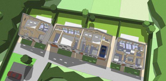 3D impressie opengewerkte plattegrond - Ontwerp seniorenwoningen, Veghel | BEELEN CS architecten / Thallia groep Weert - Eindhoven