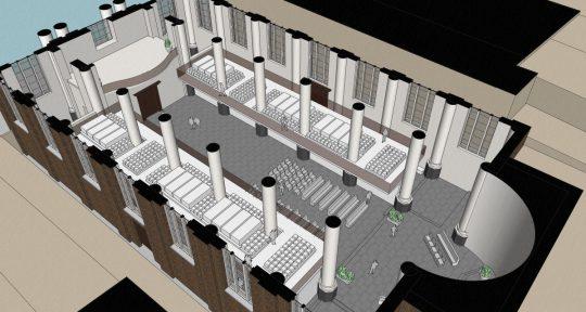 3D impressie opengewerkte plattegrond - plan voor mausoleum in de Kerk aan de Lange Haven, Schiedam- BEELEN CS architecten Eindhoven / Thalliagroep Weert