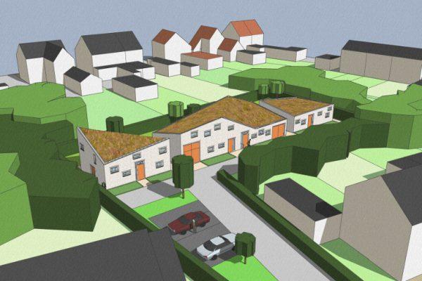 3D impressie voorzijde - Ontwerp seniorenwoningen, Veghel - BEELEN CS architecten Eindhoven / Thalliagroep Weert