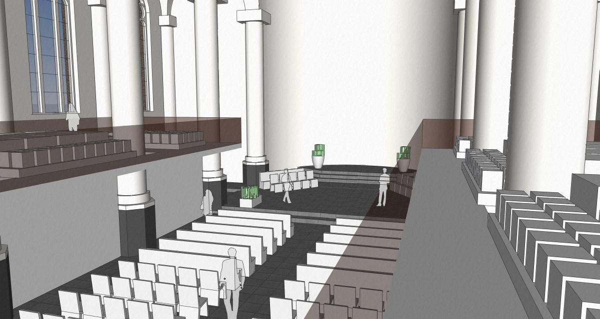 3D interieur impressie vanaf de graven eregalerij - plan voor mausoleum in de Kerk aan de Lange Haven, Schiedam- BEELEN CS architecten Eindhoven / Thalliagroep Weert