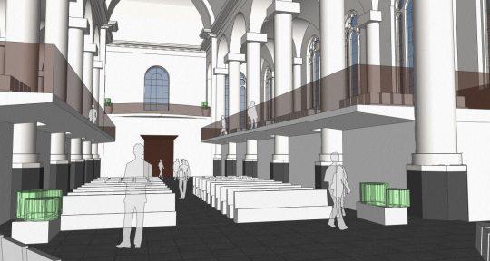 3D interieur impressie vanaf het altaar - plan voor mausoleum in de Kerk aan de Lange Haven, Schiedam- BEELEN CS architecten Eindhoven / Thalliagroep Weert