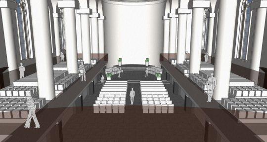 3D interieur impressie vanaf het oksaal - plan voor mausoleum in de Kerk aan de Lange Haven, Schiedam- BEELEN CS architecten Eindhoven / Thalliagroep Weert