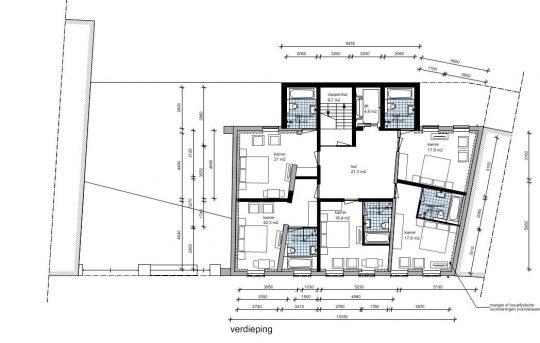 Hotelvariant eerste verdieping - Plan voor herbestemming pastorie naar zorgappartementen of hotel, Weert - BEELEN CS architecten Eindhoven / Thalliagroep Weert