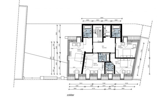 Hotelvariant tweede verdieping - Plan voor herbestemming pastorie naar zorgappartementen of hotel, Weert - BEELEN CS architecten Eindhoven / Thalliagroep Weert
