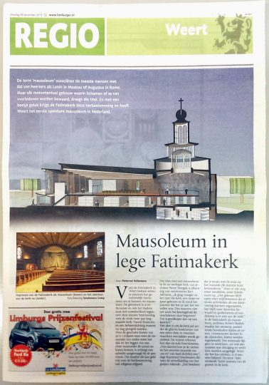 Publicatie Mausoleum in lege Fatimakerk - Fatimakerk Weert - BEELEN CS architecten Eindhoven / Thalliagroep Weert