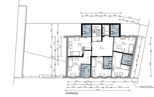 Zorgappartementen eerste verdieping - Plan voor herbestemming pastorie naar zorgappartementen of hotel, Weert - BEELEN CS architecten Eindhoven / Thalliagroep Weert