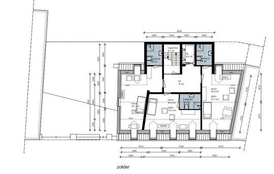 Zorgappartementen tweede verdieping - Plan voor herbestemming pastorie naar zorgappartementen of hotel, Weert - BEELEN CS architecten Eindhoven / Thalliagroep Weert