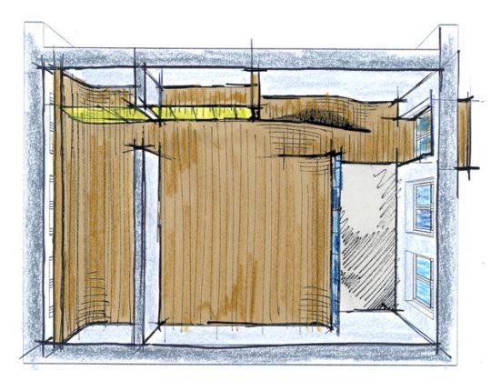 conceptschets inbouwvloer - Herbestemming oude katholieke school naar Appartementen, Amsterdam - BEELEN CS architecten Eindhoven / Thalliagroep Weert