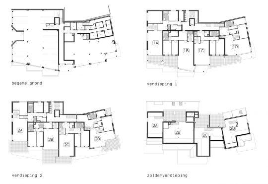 plattegronden De Poell - Appartementengebouwen De Poell en La Poste, Nederweert - BEELEN CS architecten Eindhoven / Thalliagroep Weert