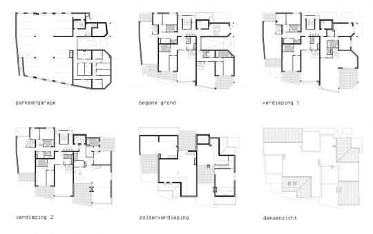 plattegronden La Poste - Appartementengebouwen De Poell en La Poste, Nederweert - BEELEN CS architecten Eindhoven / Thalliagroep Weert