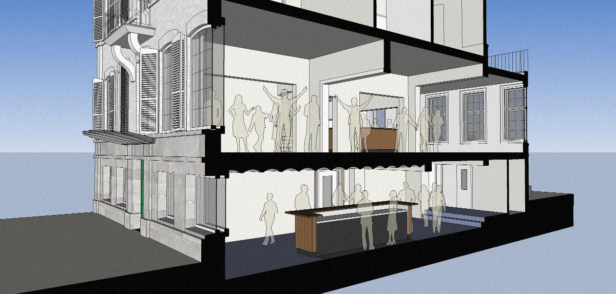 3D impressie doorsnede - Herbestemming naar studentensociëteit, Eindhoven - BEELEN CS architecten Eindhoven / Thalliagroep Weert