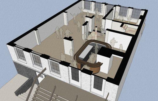 3D impressie feestruimte van achter gezien- Herbestemming naar studentensociëteit, Eindhoven - BEELEN CS architecten Eindhoven / Thalliagroep Weert