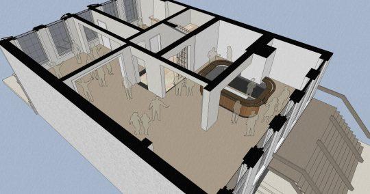 3D impressie feestruimte - Herbestemming naar studentensociëteit, Eindhoven - BEELEN CS architecten Eindhoven / Thalliagroep Weert