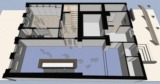 3D impressie plattegrond begane grond bar - Herbestemming naar studentensociëteit, Eindhoven - BEELEN CS architecten Eindhoven / Thalliagroep Weert