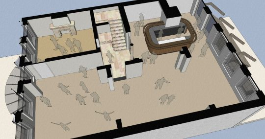 3D impressie plattegrond feestruimte - Herbestemming naar studentensociëteit, Eindhoven - BEELEN CS architecten Eindhoven / Thalliagroep Weert