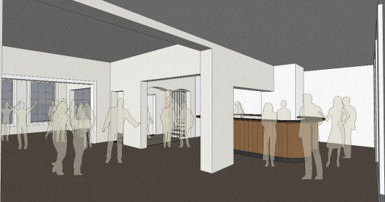 3D interieur impressie bar- Herbestemming naar studentensociëteit, Eindhoven - BEELEN CS architecten Eindhoven / Thalliagroep Weert