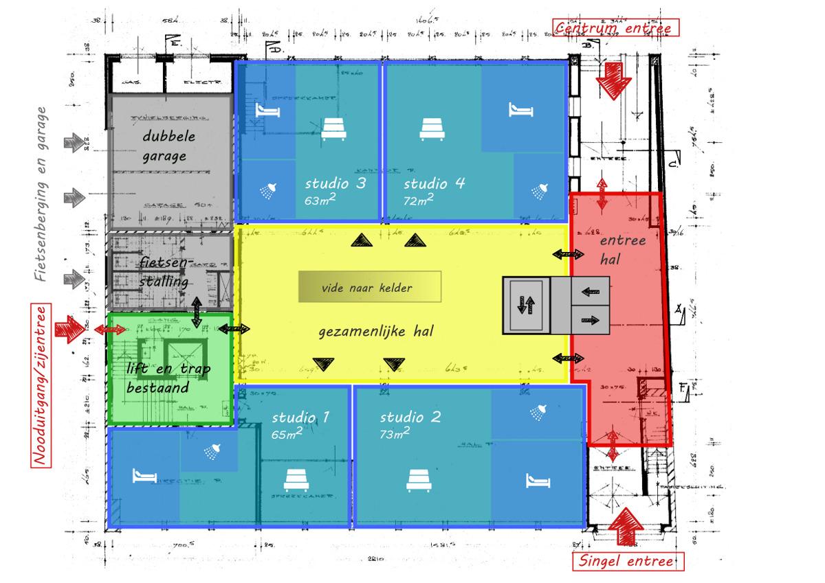Entreeverdieping - Voorstudie herbestemming naar zorgappartementen, Weert - BEELEN CS architecten Eindhoven / Thalliagroep Weert