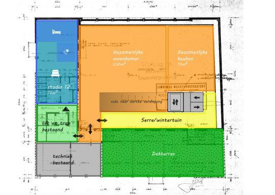 Gezamenlijke verdieping - Voorstudie herbestemming naar zorgappartementen, Weert - BEELEN CS architecten Eindhoven / Thalliagroep Weert