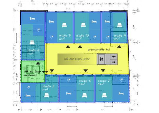 Woonverdieping - Voorstudie herbestemming naar zorgappartementen, Weert - BEELEN CS architecten Eindhoven / Thalliagroep Weert