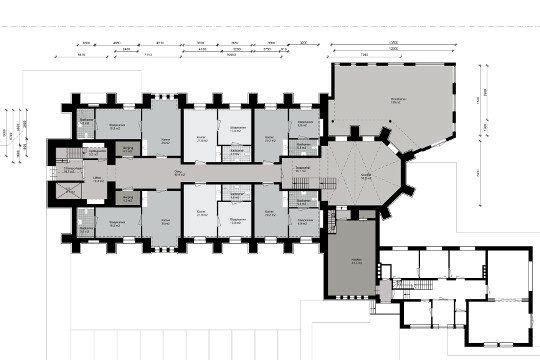 Herbestemming Bernadettekerk plattegrond grijs, Landgraaf - BEELEN CS architecten Eindhoven / Thalliagroep Weert