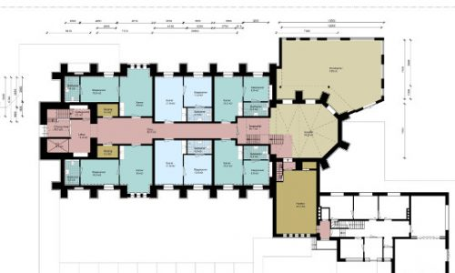 Herbestemming Sint-Bernadettekerk principe plattegrond kleur, Landgraaf - BEELEN CS architecten Eindhoven / Thalliagroep Weert