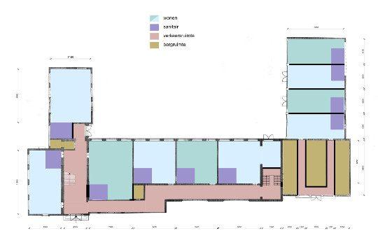 Herbestemming schoolgebouw plattegrond, Landgraaf - BEELEN CS architecten Eindhoven / Thalliagroep Weert