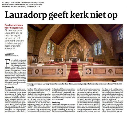 Krantartikel Lauradorp geeft kerk niet op - Herbestemming Theresiakerk, Landgraaf - BEELEN CS architecten Eindhoven / Thalliagroep Weert