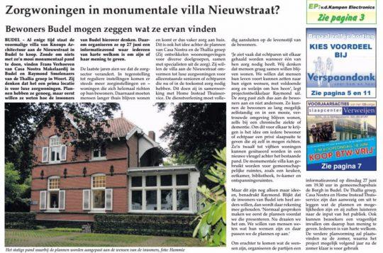 artikel krant infomatie avond Zorgwoningen Budel | Thallia groep Weert - Eindhoven