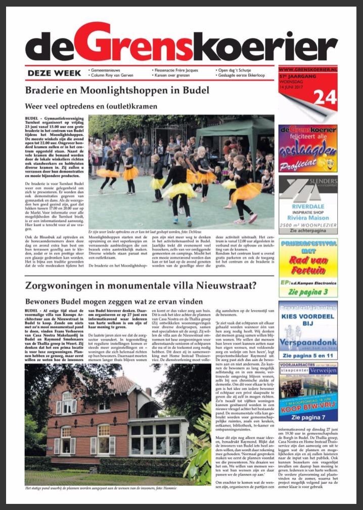 artikel krant infomatie avond Zorgwoningen Budel - Thalliagroep Weert Eindhoven