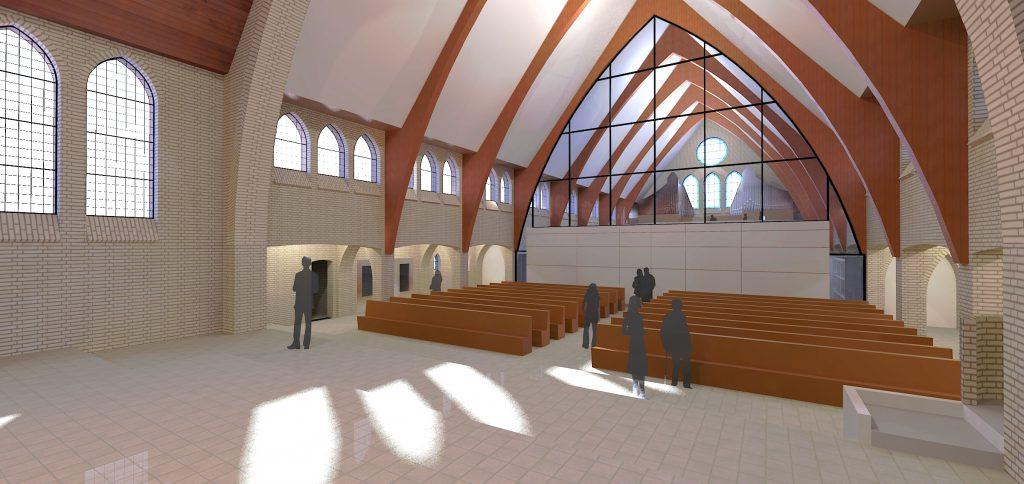 Herbestemming Theresiakerk, Landgraaf, interieur zaal   Thallia groep Weert - Eindhoven