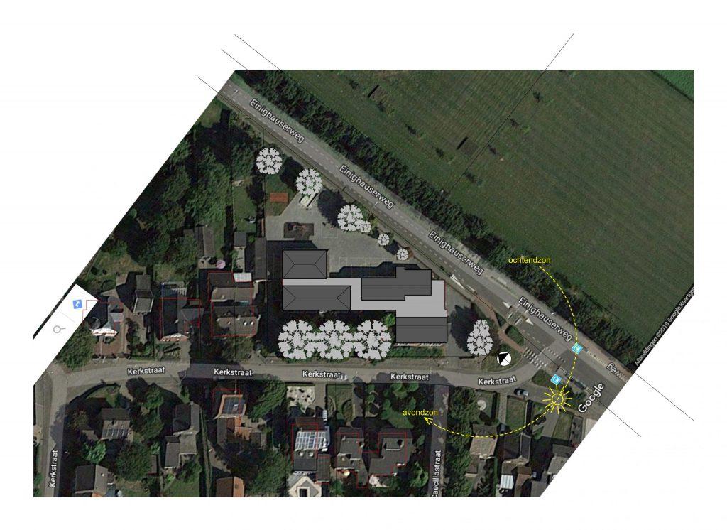 Studie inpassing woongroep in schoolgebouw, situatie, Guttecoven Sittard-Geleen   BEELEN CS architecten / Thallia groep Weert - Eindhoven