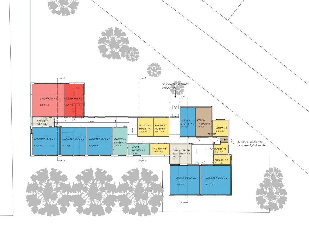 Studie inpassing woongroep in schoolgebouw,vlekkenplan, Guttecoven Sittard-Geleen   BEELEN CS architecten / Thallia groep Weert - Eindhoven